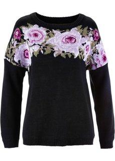 Пуловер (пионовый с узором) Bonprix