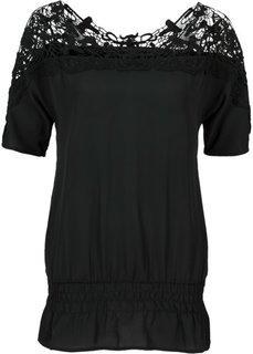 Шифоновая блузка с вязаным кружевом (бежевый) Bonprix