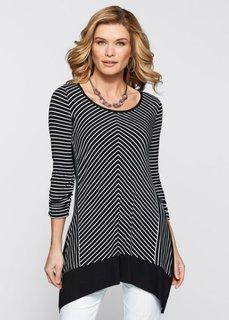 Удлиненная футболка (черный/белый) Bonprix