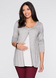 Мода для беременных: футболка с функцией кормления (светло-серый в полоску) Bonprix