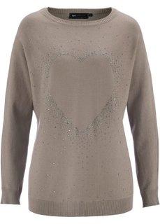 Удлиненный пуловер с сердцем из стразов (розовая пудра) Bonprix