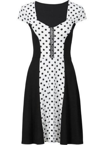 Платье в горошек (аква/черный в горошек)