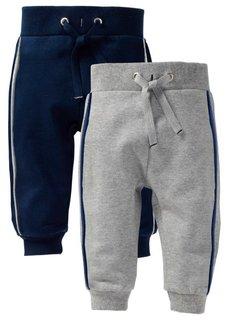 Трикотажные брюки (2 шт.) (светло-серый меланж/темно-сини) Bonprix