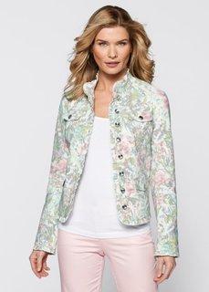 Джинсовая куртка с цветочным принтом (мятный/розовый в цветочек) Bonprix