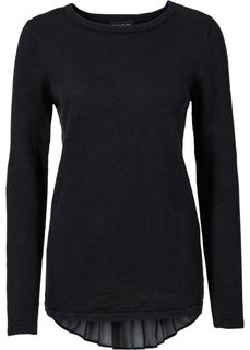 Пуловер с шифоновой вставкой (дымчато-розовый) Bonprix