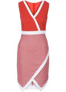 Платье асимметричного покроя (цвет белой шерсти/черный с при) Bonprix