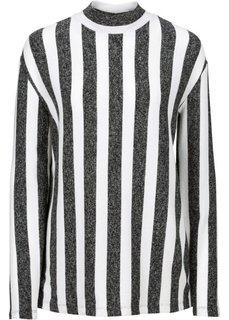 Пуловер (серый меланж/черный в полоску) Bonprix