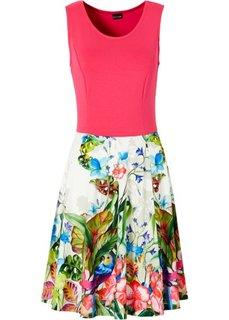 Трикотажное платье (цвет белой шерсти с рисунком/с) Bonprix