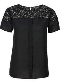 Блузка с кружевной вставкой (красный) Bonprix