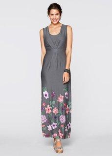 Трикотажное макси-платье (шиферно-серый в цветочек) Bonprix