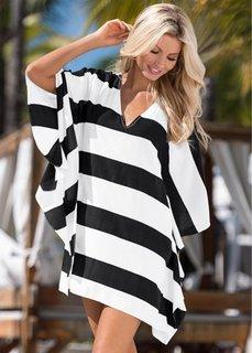 Пляжная туника (черный/белый в полоску) Bonprix