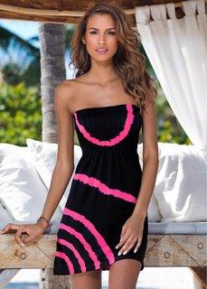 Пляжное платье в стиле бандо (черный/ярко-розовый) Bonprix