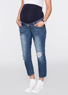 Мода для беременных: джинсы 7/8 с повреждениями в области колен (синий «потертый») Bonprix