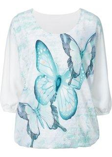 Трикотажная блузка (цвет белой шерсти с рисунком) Bonprix