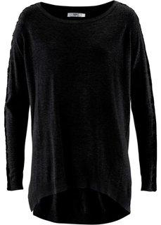 Пуловер с кружевом и длинным рукавом (светло-серый меланж/черный) Bonprix