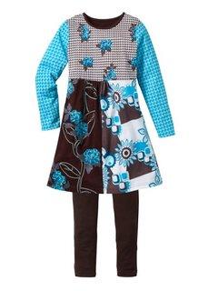 Платье + легинсы (2 изд.) (черный/лиловая фиалка с принто) Bonprix