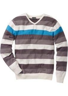 Пуловер Slim Fit (белый/черный/темно-красный в п) Bonprix