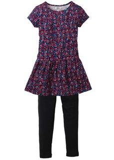 Платье + легинсы (2 изд.), Размеры 116-170 (бирюзовый с принтом/темно-кори) Bonprix