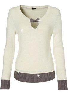 Пуловер (темно-лиловый/серый/серебристы) Bonprix