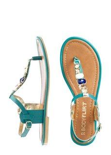 Кожаные сандалии (бирюзовый) Bonprix