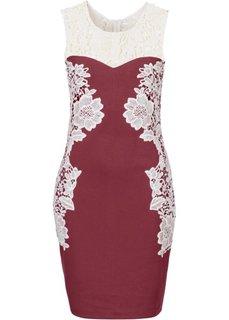 Платье с кружевной отделкой (черный/цвет белой шерсти) Bonprix