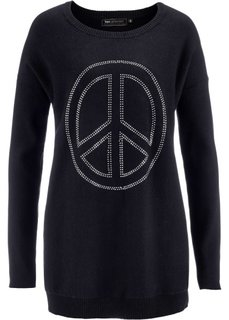 Удлиненный пуловер с аппликацией Мир из стразов (розовая пудра) Bonprix