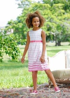Летнее платье с сатиновым поясом, Размеры  116-170 (белый/ярко-розовый в полоску) Bonprix