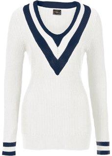 Пуловер (темно-синий/белый) Bonprix