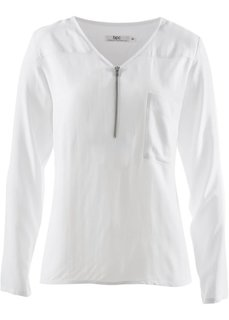 Блузка с длинным рукавом и застежкой на молнию (черный) Bonprix