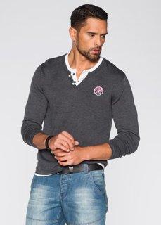 Пуловер Slim Fit (антрацитовый меланж) Bonprix