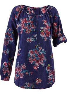 Блузка с длинным рукавом (цвет белой шерсти в цветочек) Bonprix
