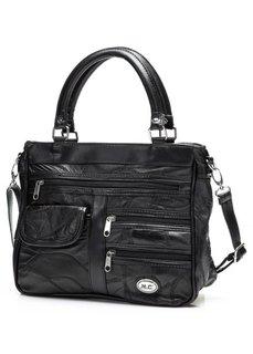 Кожаная сумка Пэч с кармашками на молнии (черный) Bonprix