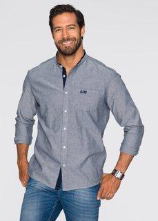 Рубашка Regular Fit с воротником-стойкой и длинным рукавом (синий) Bonprix