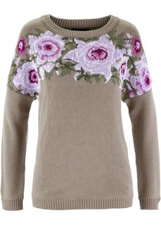 Пуловер (черный с узором) Bonprix