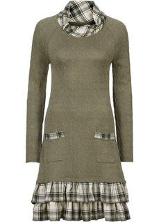Вязаное платье (черный в клетку) Bonprix