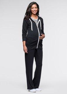 Мода для беременности: футболка, куртка и брюки (3 изд.) (черный + черный/белый в полоск) Bonprix