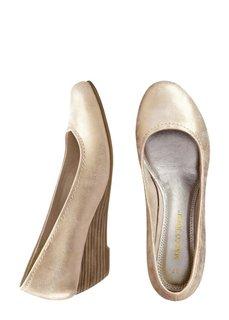Туфли на танкетке (золотистый металлик) Bonprix