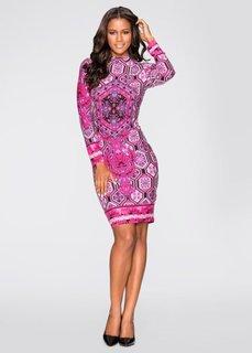 Платье с длинным рукавом (цвет фуксии) Bonprix