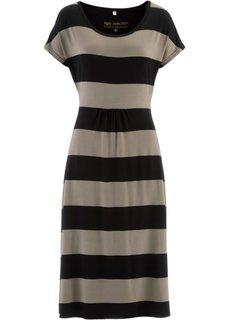 Трикотажное платье (фисташковый/белый) Bonprix