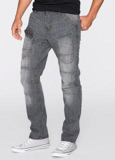 Джинсы Regular Fit Straight, длина (в дюймах) 32 (серый «потертый») Bonprix