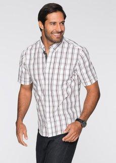 Клетчатая рубашка Regular Fit с коротким рукавом (белый/светло-серый/черный в кл) Bonprix