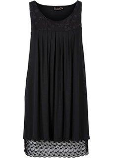 Трикотажное платье с кружевом (антрацитовый/цвет белой шерсти) Bonprix