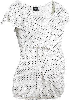 Мода для беременных: праздничная футболка (небесно-голубой/белый в гороше) Bonprix