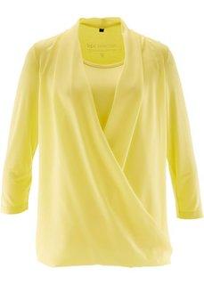 Трикотажная блузка с эффектом запаха (нежно-голубой) Bonprix