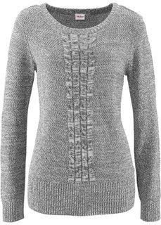 Пуловер с длинным рукавом (изумрудный меланж) Bonprix