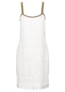 Платье с бахромой (черный) Bonprix