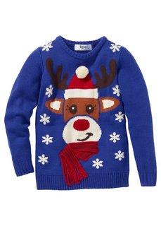 Пуловер (темно-красный с узором) Bonprix
