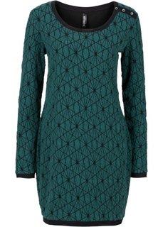 Трикотажное платье (антрацитовый меланж/черный) Bonprix