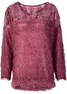 Пушистый пуловер с кружевом (серый) Bonprix