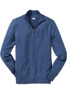 Пуловер Regular Fit с воротником-стойкой (темно-синий в полоску) Bonprix
